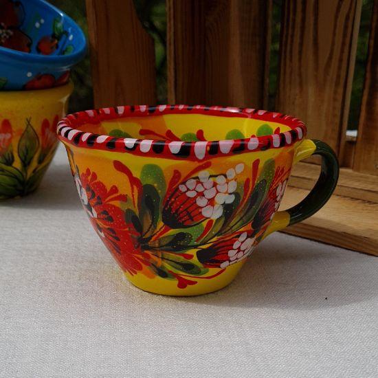 Bunte Keramik Tasse 0.5 L - Kunsthandwerk aus der Ukraine