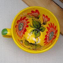 Сeramic cup with flowers - handmade in Ukraine