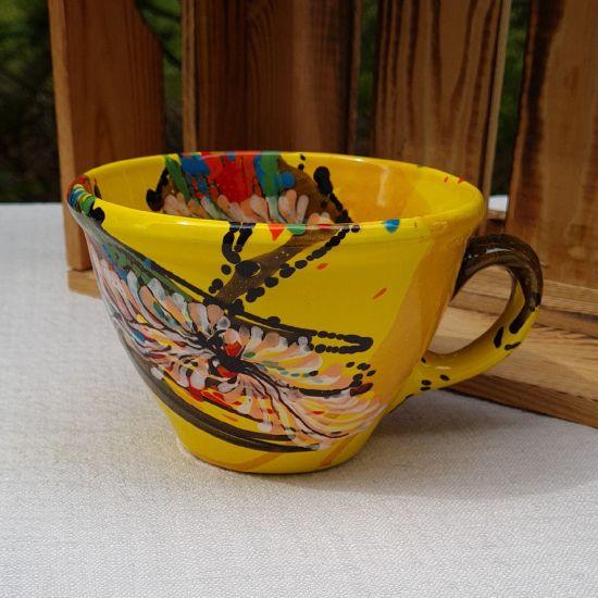 Originelle gelbe Tasse 0.5 L aus Keramik - Abstractmuster