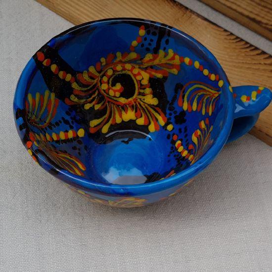 Originelle blaue Tasse 0.5 L aus Keramik - Abstraktmuster