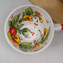 Handmade ceramic tea cup with flowers 0.5L