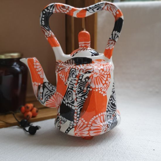 Design ceramic teapot with abstract painting