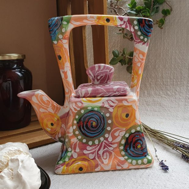 Fancy teapot with abstract painting, hand painting