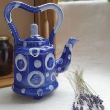 """Blue abstraction"" pottery teapot, original handcraft"