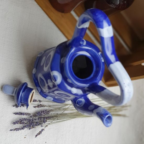 """Getöpferte Teekanne """"Blaue Abstraktion"""", originelle Handarbeit"""