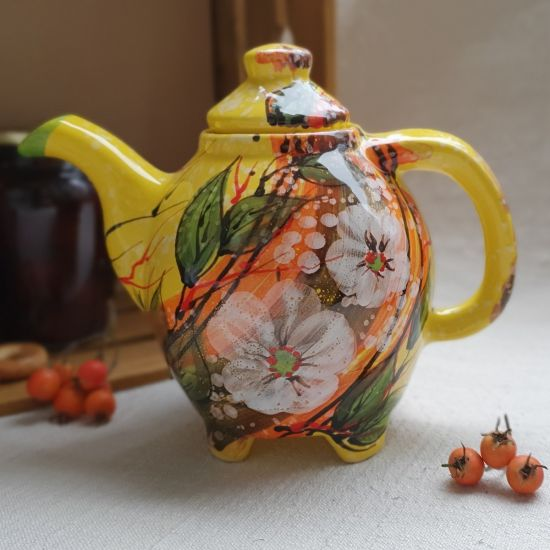 Small teapot with flowers, original handicraft