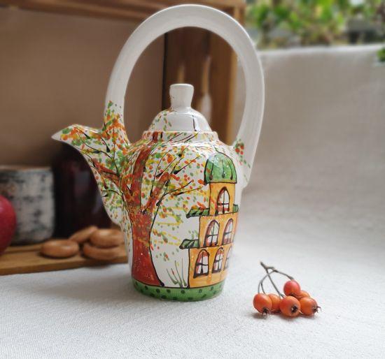 """Originelle Teekanne aus Keramik """"Herbststadt"""""""