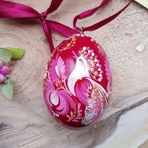 Bemaltes Osterei aus Holz mit Vogel als Motiv - exklusives Ostergeschenk