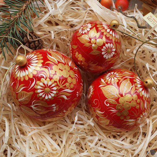 Rot-goldene handbemalte Weihnachtskugeln - Geschenk boxes , Set mit 3 St. (8-7- 5.5 cm)