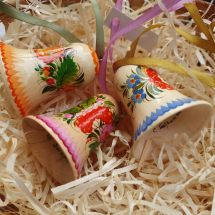 Christmas bells, wooden ornaments Set, hand painted in Petrykivka painting