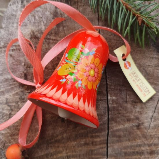 Hand painted Christmas bell, red with flowers patterns