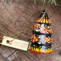 Origineller Weihnachtsbaumschmuck -Glöckchen - Tannenbäumchen aus Holz
