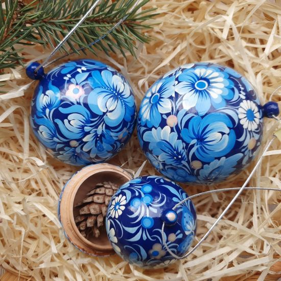 Blaue handbemalte Weihnachtskugeln mit Blumenmuster - Geschenk boxes , Set mit 3 St. (8-7- 5.5 cm)