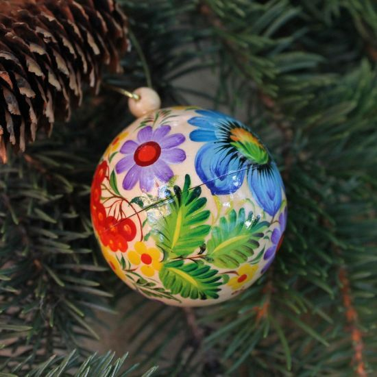 Hand painted Christmas ball - Petrykivka painting 5.5cm