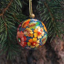 Bunte Weihnachtskugel handbemalt mit Blumennmuster handgemacht aus Holz - 5.5cm