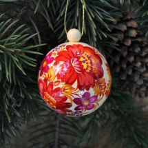 White-red hand painted Christmas ball with Petrykivka painting