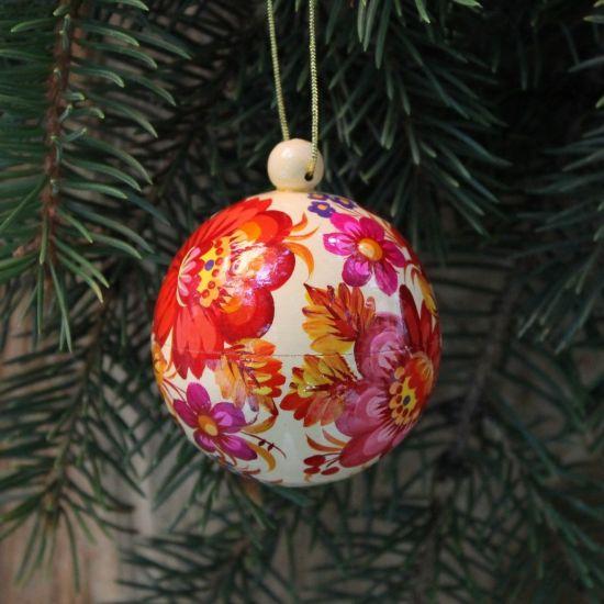Tradition-handbemalte Christbaumkugel aus Holz, hochwertig