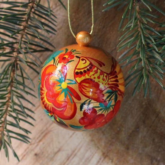 Exklusive Weihnachtskugel handbemalt mit Golde-rotem Muster, 5.5cm