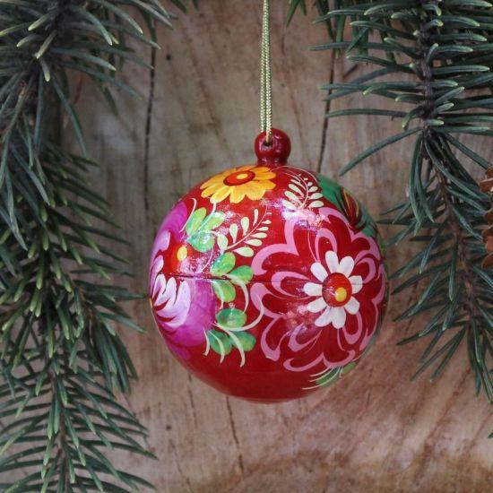 Rote Weihnachtsbaumkugel handbemalt mit Blütenmuster - 5.5cm befüllbar