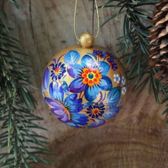 Hand painted Christmas balls -golden with blue, 5.5 cm
