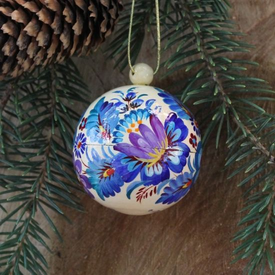 White-blue Christmas bauble hand-painted - 5.5cm