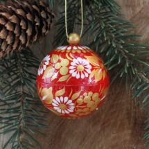 Small red and gold Christmas bauble hand-painted - 5.5cm