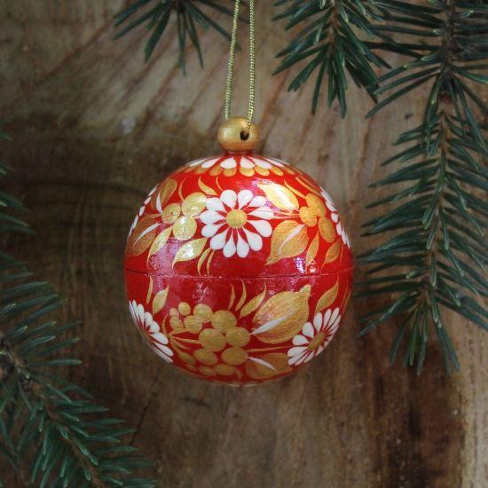 Kleine rot-goldene Christbaumkugel handbemalt - 5.5cm, die sich öffnet