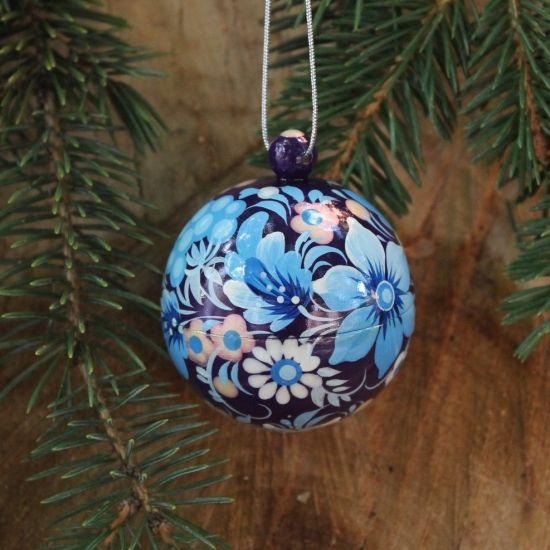 Small hand painted blue Christmas ball, Petrykivka painting