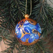 Golden-blue hand painted Christmas ball - 5.5cm