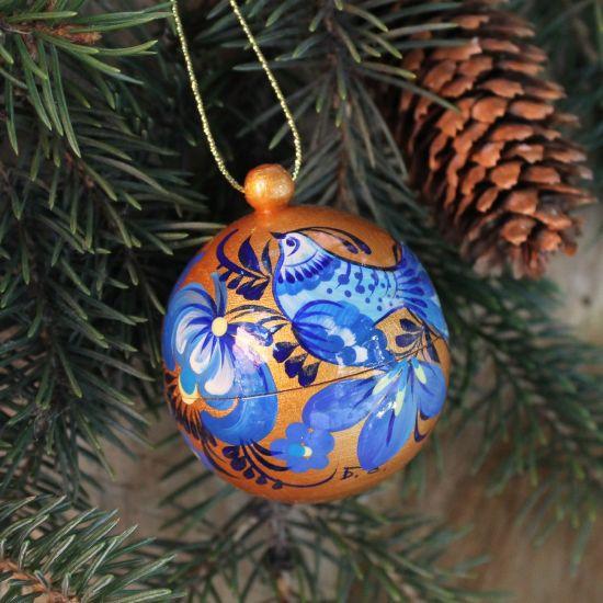 Gold-blaue bemalte Weihnachtskugel handgemacht aus Holz- 5.5cm