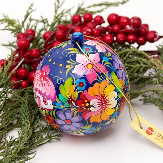 Bunte Christbaumkugeln handbemalt im ukrainischen Stil, 8-8.5 cm