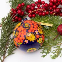 Hand painted wooden christmas ball and box for small presents,  traditional Petrykivka painting, 8 cm