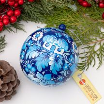Blue Christmas ball made of wood artisanal painting 7cm