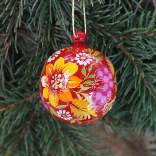 Red hand painted with flowers Christmas ball - Petrykivka painting
