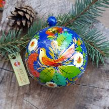Hand painted Сhristmas balls with bird motif, openable with ukrainian painting