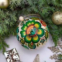 Ukrainian painted Christmas tree ball wood, openable