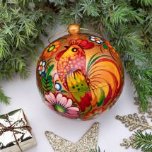 Golden Christmas tree ball wooden hand painted with ruster