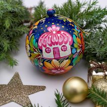 Colorful Christmas ball artistical hand painted with a house as a motif
