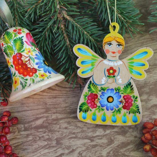 Baumschmuck Engel und Glöckchen Weihnachtsdeko