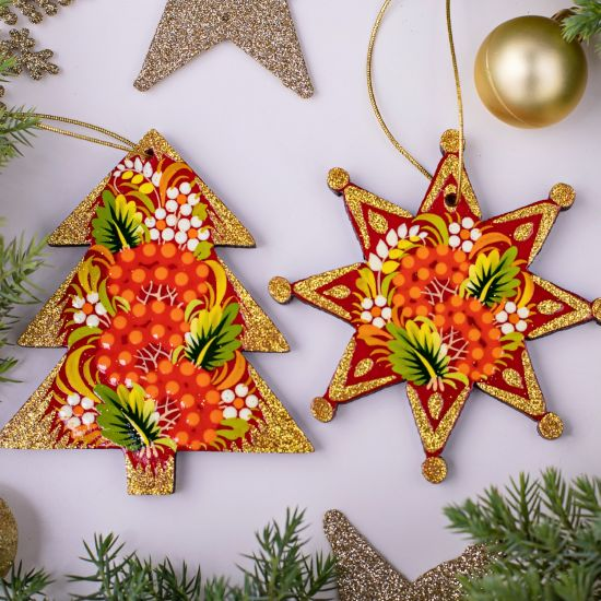 Red and gold Christmas tree ornaments, star and tree