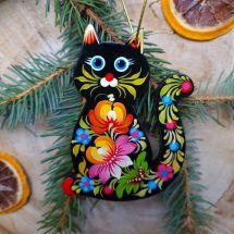 Christbaumanhänger Schwarze Katze handgefertigt