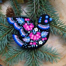 Hand painted Christmas ornament Bird blue-pink