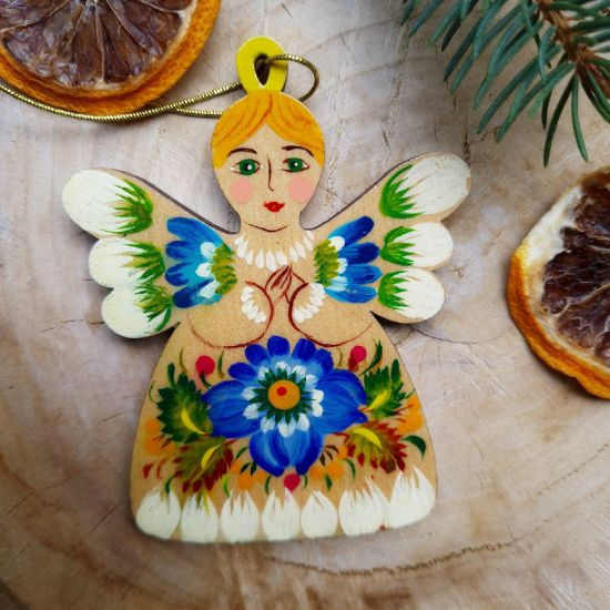 Angel Christmas tree decorations wooden hand painted