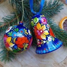 Bunte Handbemalte Christbaumkugel und Glöckchen-Weihnachtsdeko