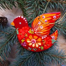 Red bird Christmas ornament hand painted