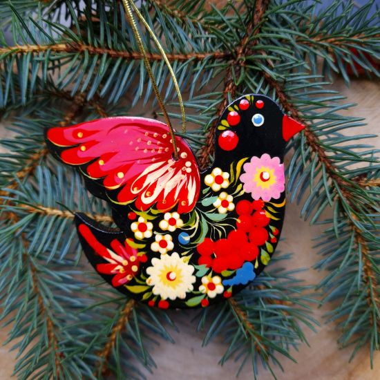 Bird Christmas decoration colorful hand painted