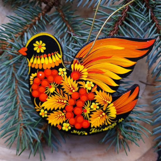 Exclusive Christmas tree decoration bird delicate painted