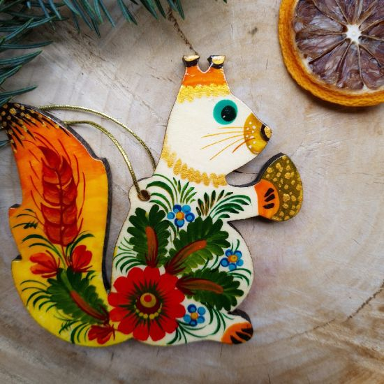 Rustic Squirrel Christmas ornament traditional ukrainian painted