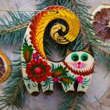Ukrainian traditional painted Christmas decoration for cat lovers