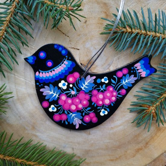 Wooden Christmas decoration Bird with blue and pink patterns
